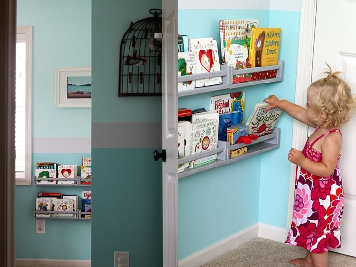 Turn Ikea Spice Racks Into Front Facing Bookshelves For The Home