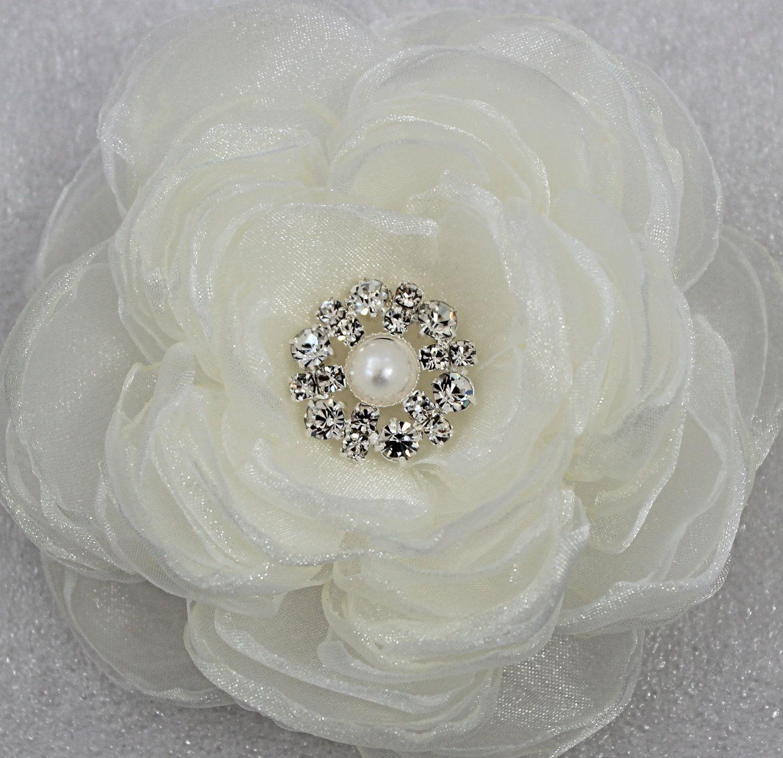 Small ivory wedding hair flower with rhinestone