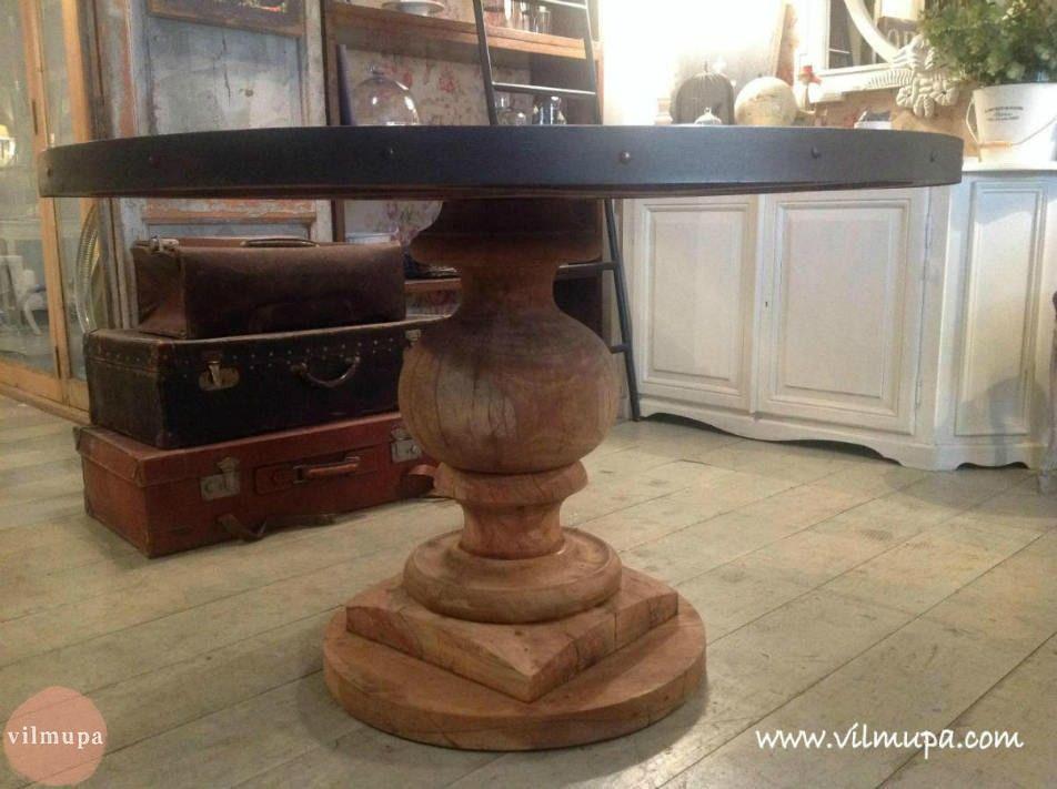 Mesa redonda de madera con tapa de zinc | Pinterest