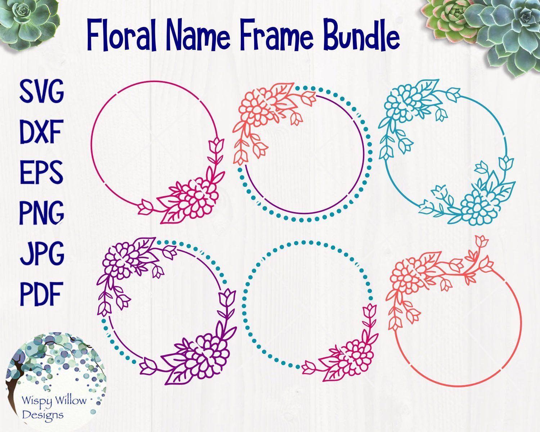 Download Floral Circle Name Frames SVG, DXF, png, jpg, pdf ...
