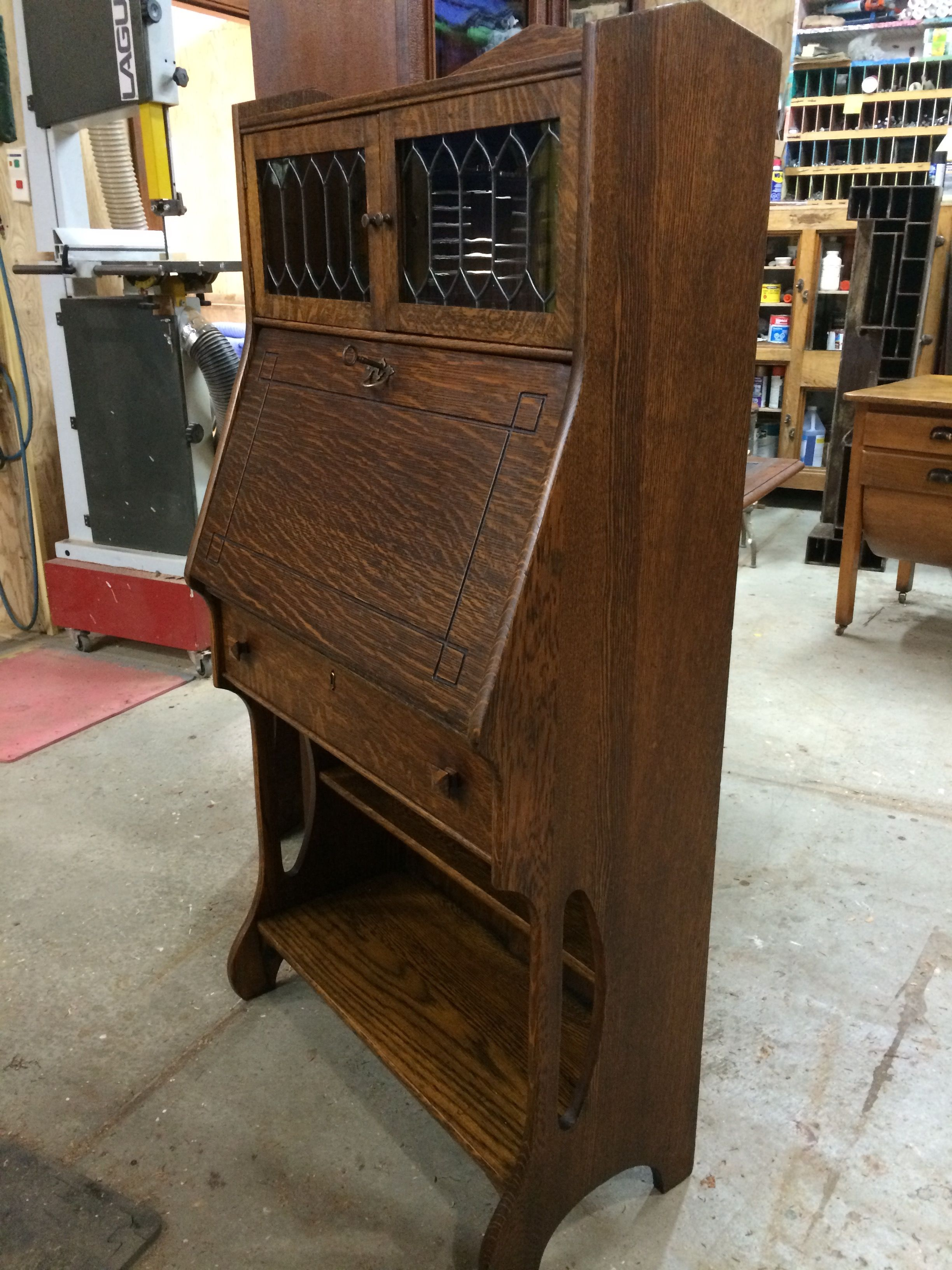 Desk Flip Down Secretary Ca 1900 Tiger Oak Leaded Gl Doors