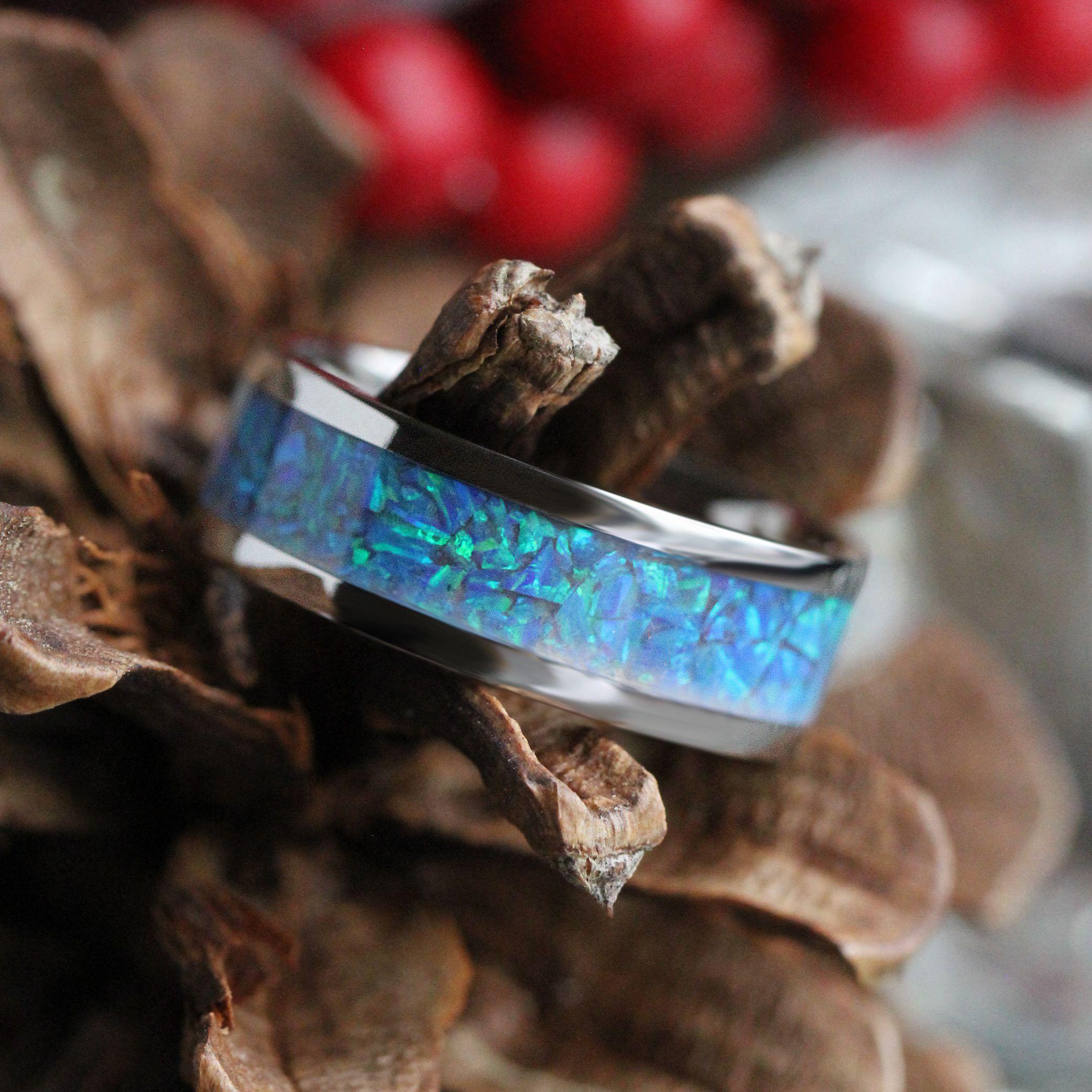 Gibeon Meteorite Wedding Band With Crushed Opal Strip