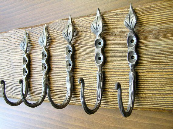 Large Decorative Coat Hook Iron Entryway Hooks Mudroom Robe Wall Leaf Bathr