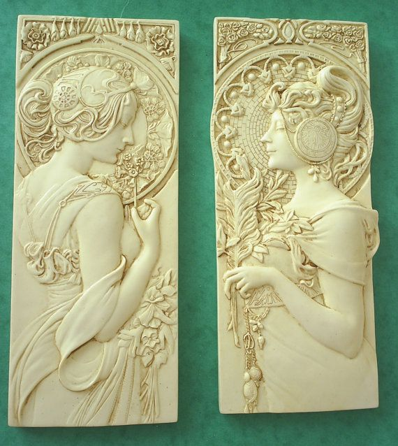1 pair/Smaller Art nouveau style wall plaques by brightonbabe2010 ...