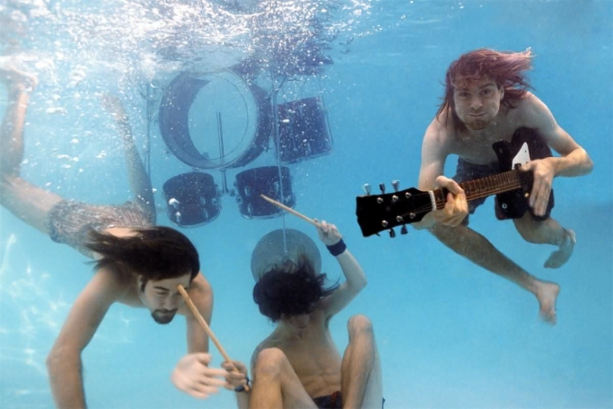 Photos for Nirvana's 1991 album 'Nevermind', which Rolling Stone has dubbed the 'best album of that decade'.