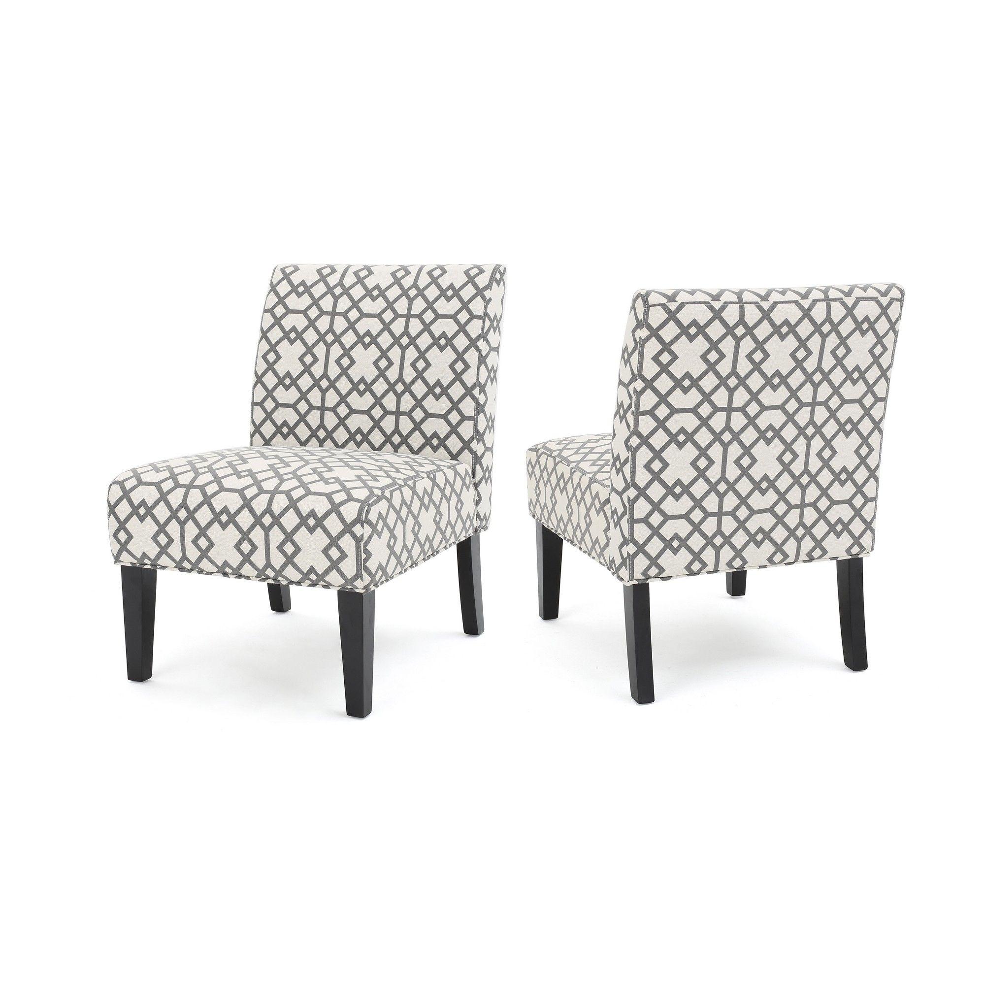 Terrific Set Of 2 Kassi Accent Chair Geometric Patterned Gray Inzonedesignstudio Interior Chair Design Inzonedesignstudiocom