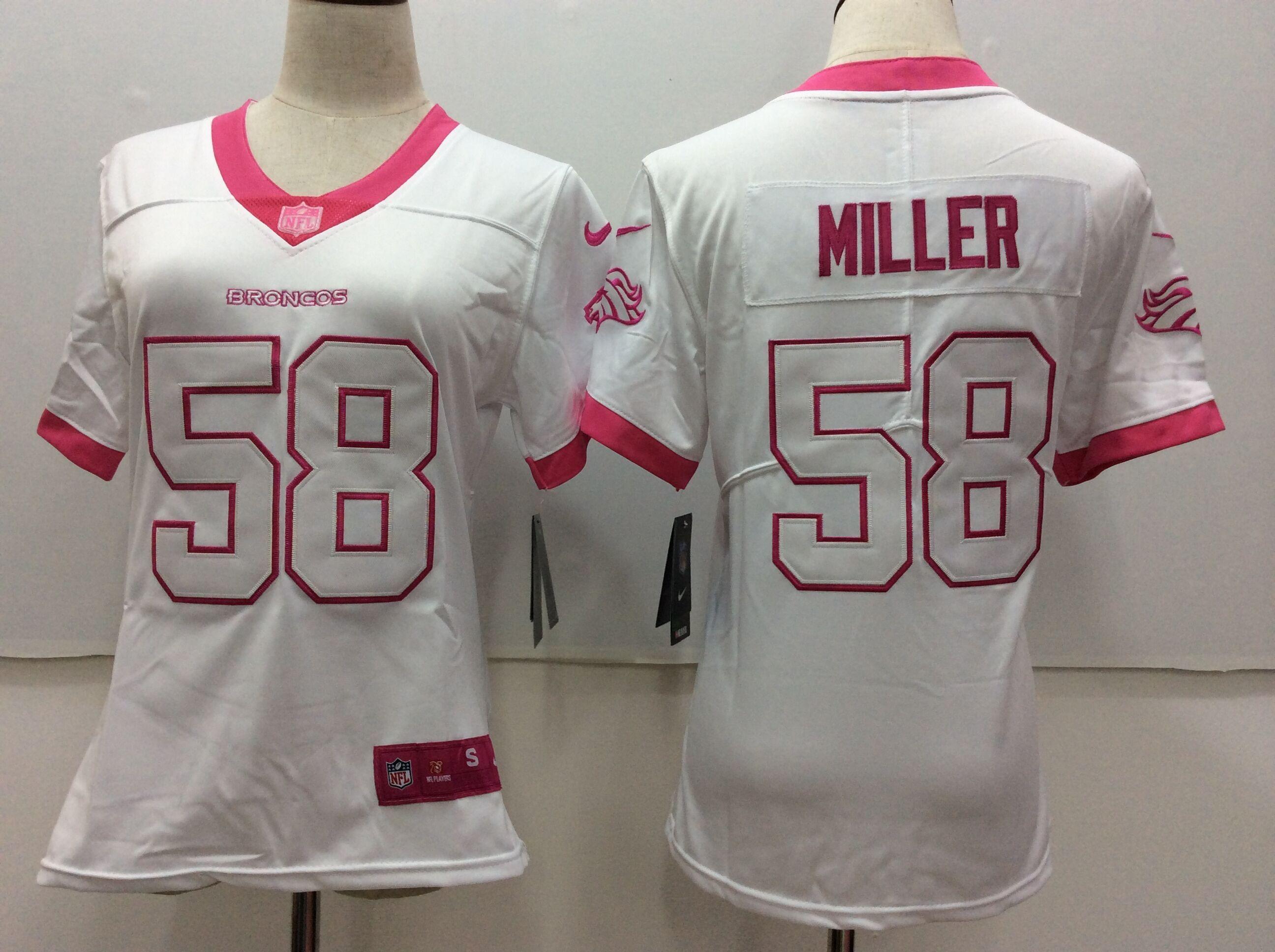 Women Denver Broncos 58 Miller Matthews White Pink Nike Vapor Untouchable  Limited NFL Jerseys 237e03def