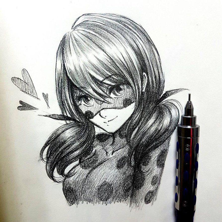 Картинки карандашом для срисовки леди баг
