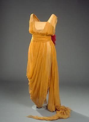 circa 1920 Gold Chiffon Empire Waist Evening Gown.
