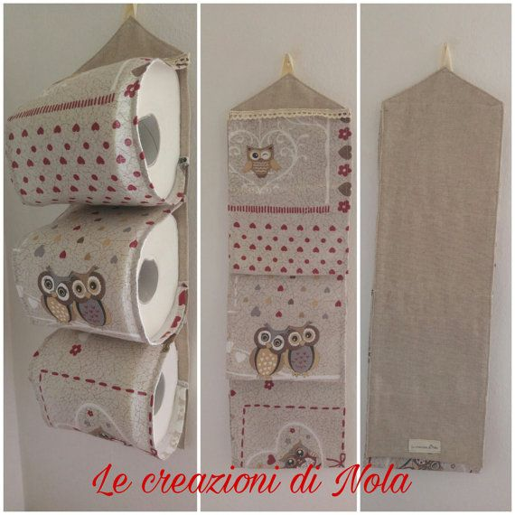 spare toilet paper roll holders-3 rolls of fabric owl (door rolls