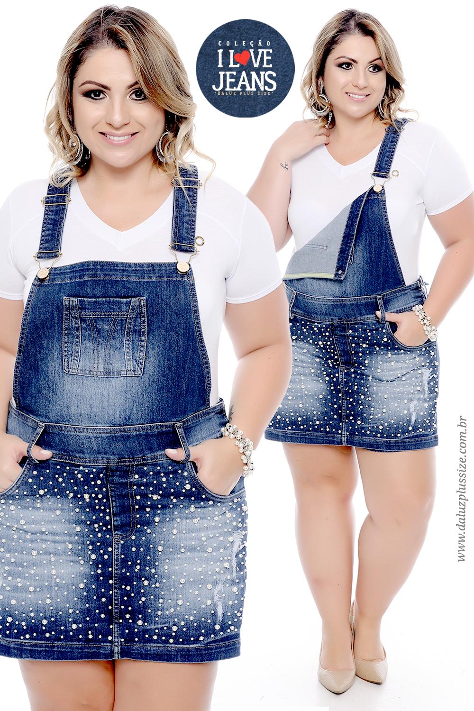 566dd8f31 Jardineira Shorts Saia Plus Size Marylete - Coleção I Love Jeans Plus Size  - daluzplussize.com.br