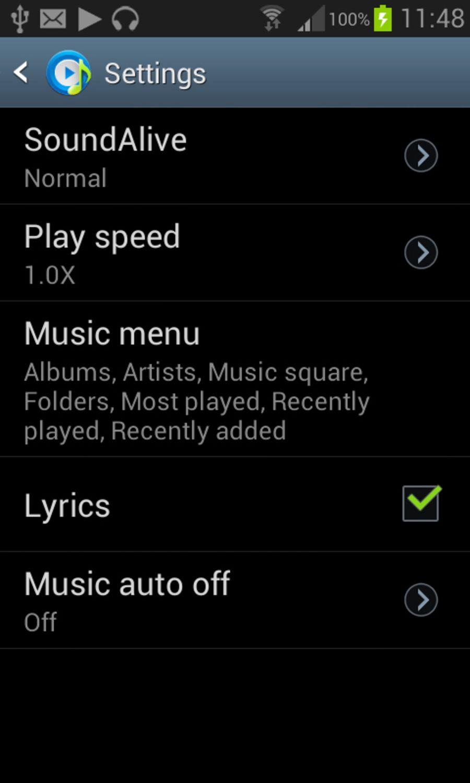Samsung Galaxy S3 Mini Music Settings Music Most Played