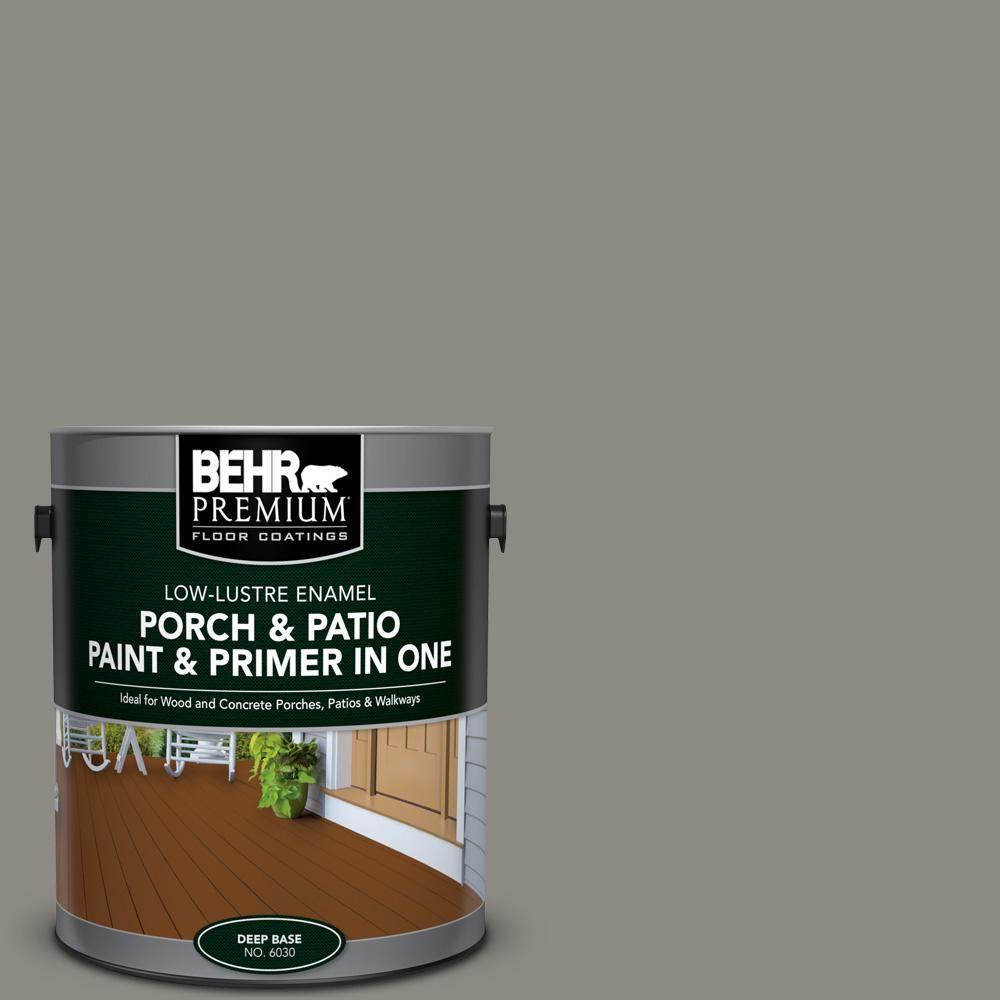 Behr Premium 1 Gal Bxc 55 Concrete Sidewalk Low Lustre Interior Exterior Paint And Primer In One Porch And Painted Patio Porch And Patio Paint Painted Floors