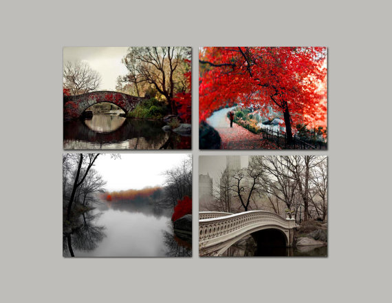 Rustic home decor from Central Park, New York Prints in reds and browns, Fall in the Park. 4 photographs to hang as a set. Home decor for less.  TITLE: