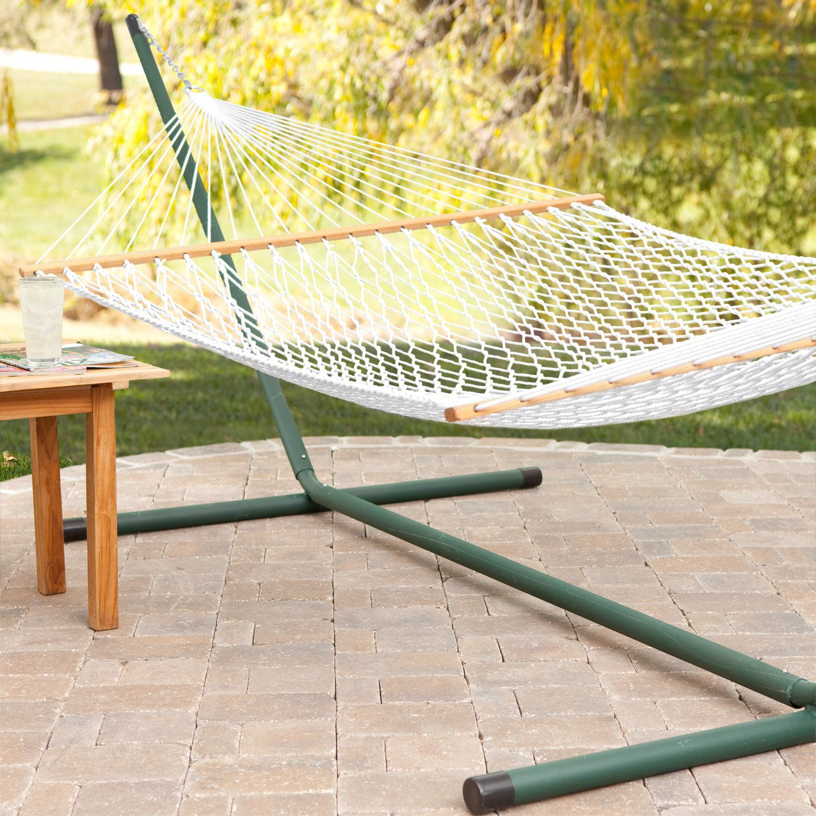 Twin oaks green living envirope xl rope double hammock with stand
