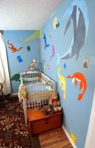 Artist paints her child's nursery with prehistoric undersea creatures in chronological period order. She also added a TARDIS and Cthulhu.