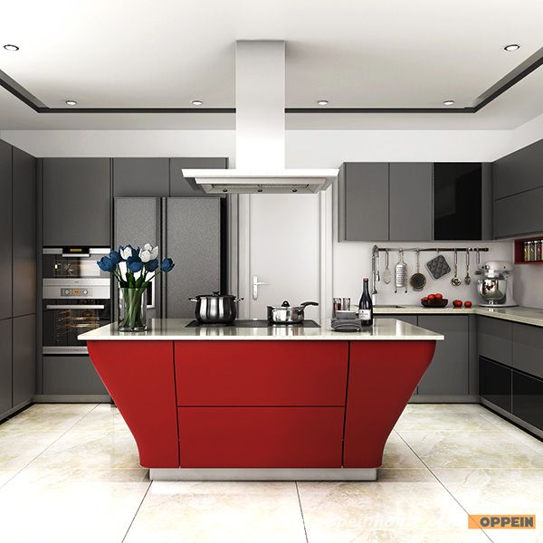OP15-L38: Modern Grey and Red Matte Lacquer Kitchen Cabinet | Divine ...