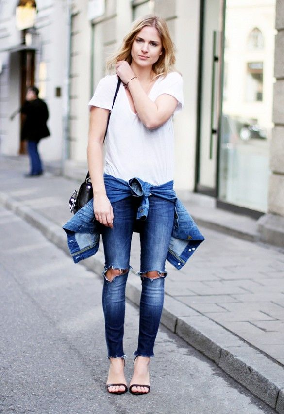 e30bcd33e4da Pair your distressed skinny jeans with a simple white v-neck and sandals.      SummerStyle  StreetStyle  OutfitTips
