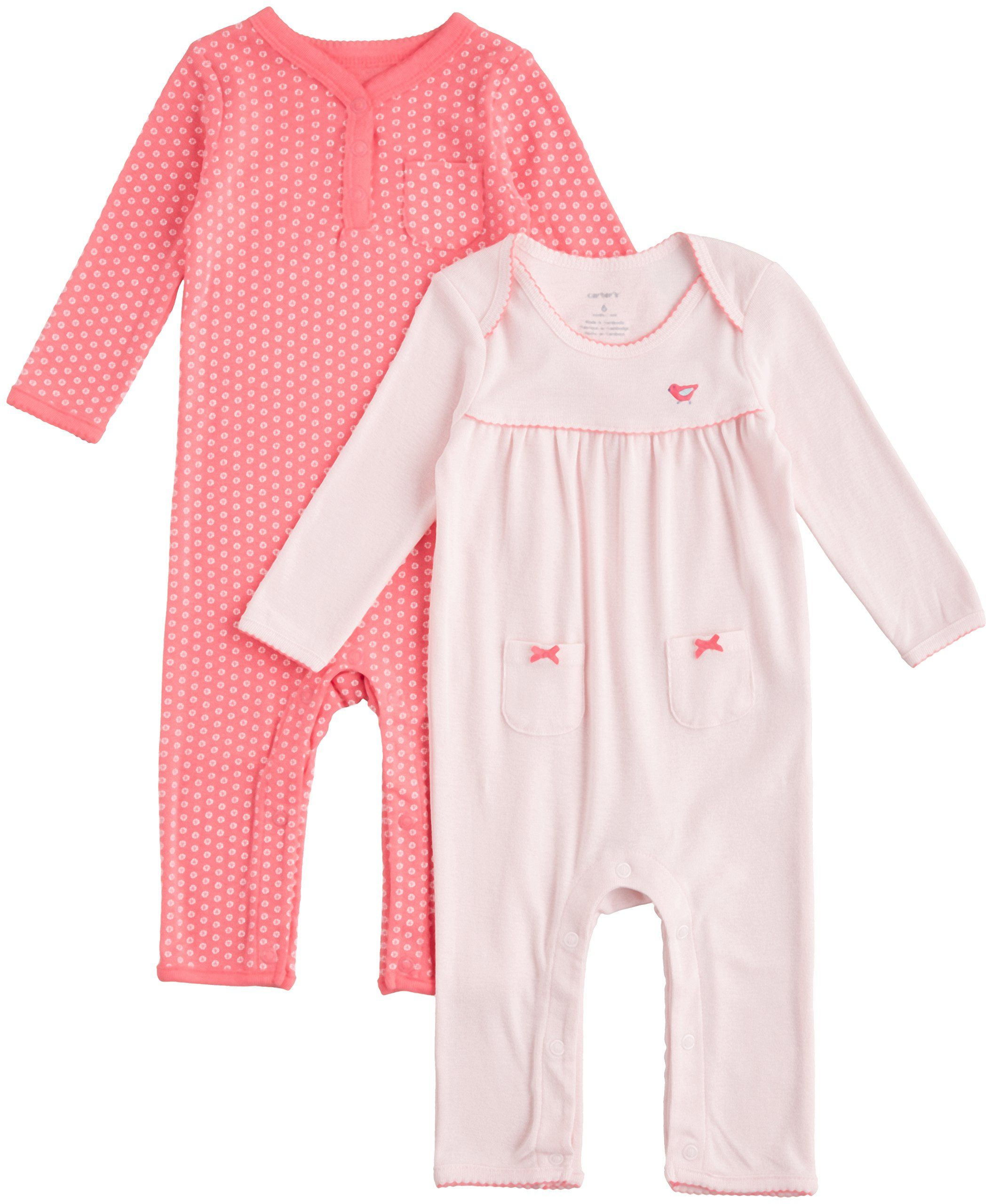 Carter s Baby Girls 2 Pack Coverall Set Baby Pink Newborn