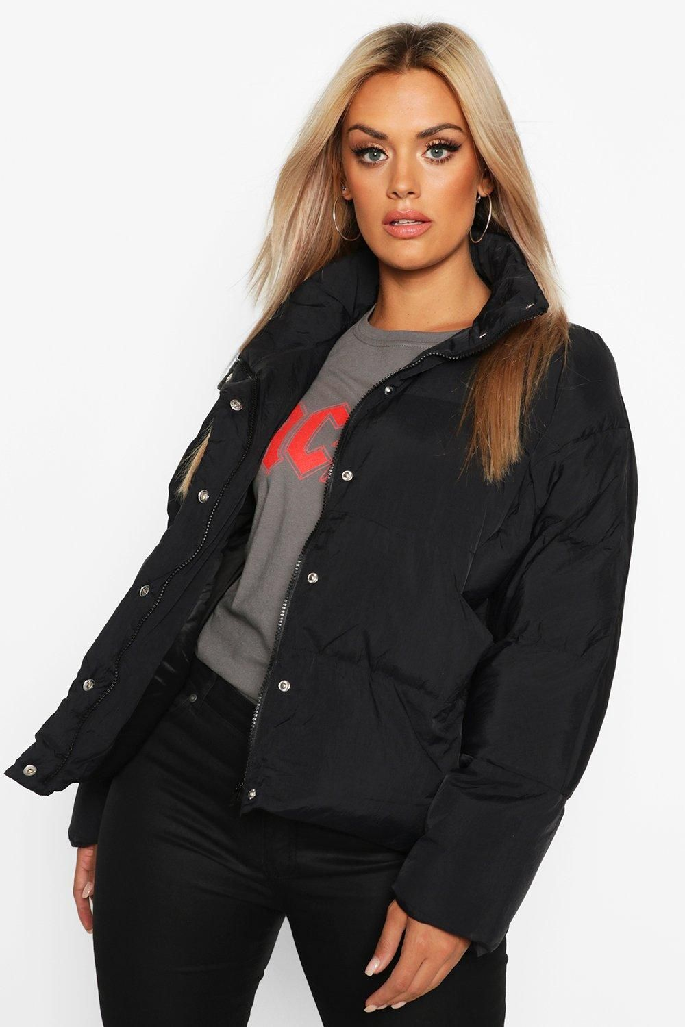 Plus Funnel Neck Cropped Puffer Jacket Boohoo Cropped Puffer Jacket Puffer Jacket Black Puffer Jacket Outfit [ 1500 x 1000 Pixel ]