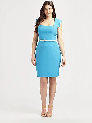 Adorable Salon Z Square-Neck Gabardine Dress @Saks Fifth Avenue OFF ...