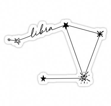 'Libra Constellation Drawing Sticker' Sticker by aterkaderk