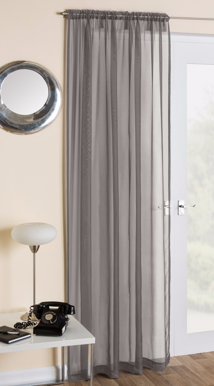 Slot Top Plain Voile Net Curtain Panel Rod Pole Or Wire All