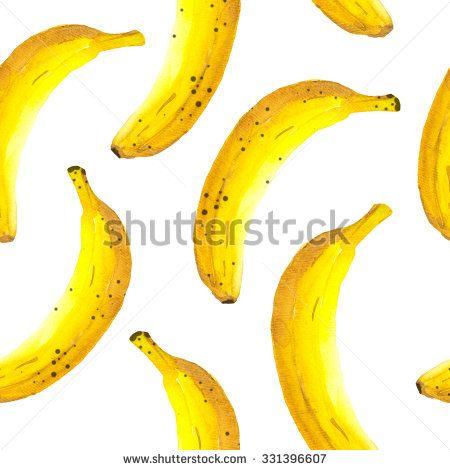 Hand-drawn watercolor of banana. Seamless nature background. Fresh organic food.  Banana yellow background. Painting style. - stock photo