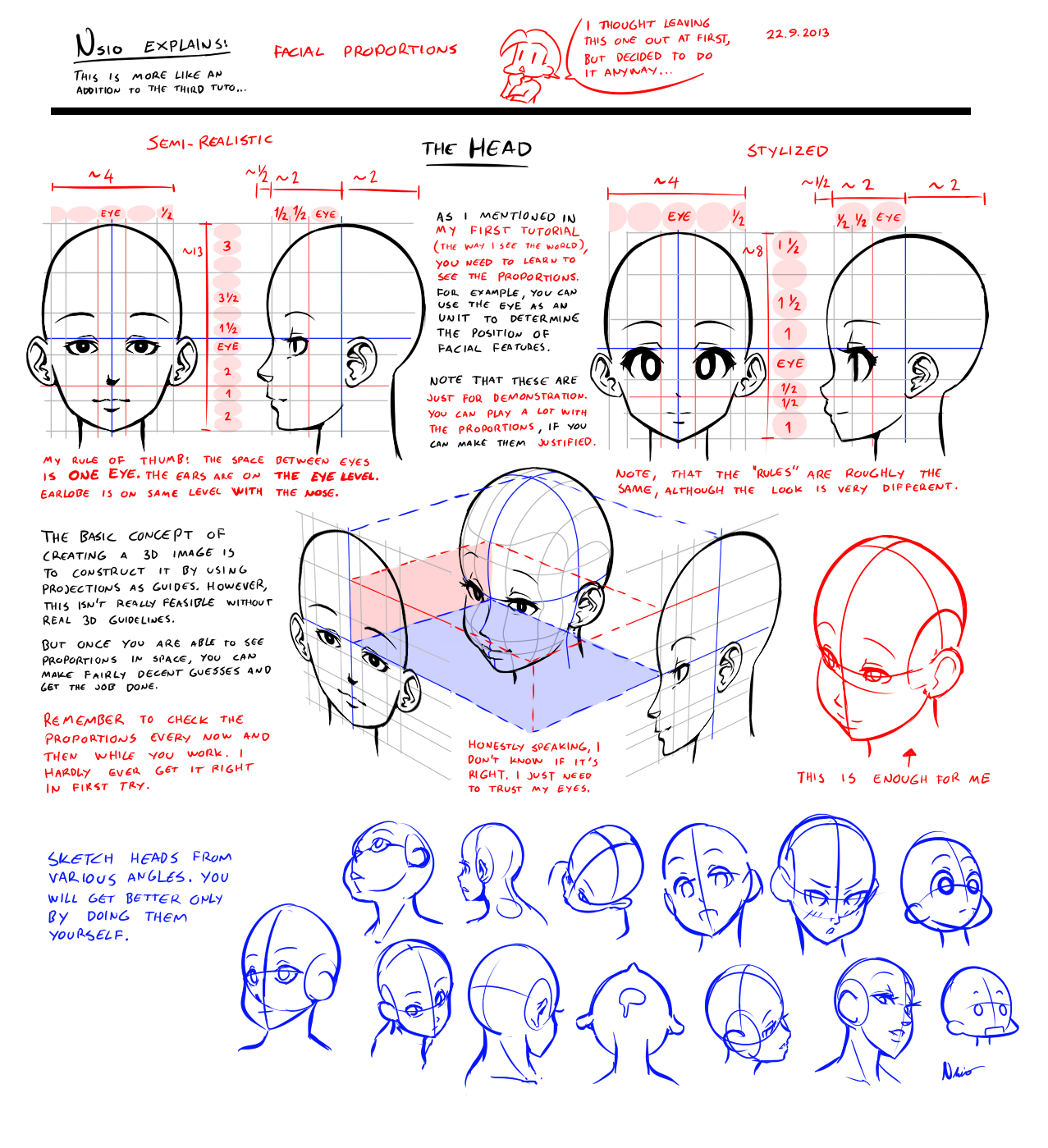 Nsio explains facial proportions by nsioviantart on