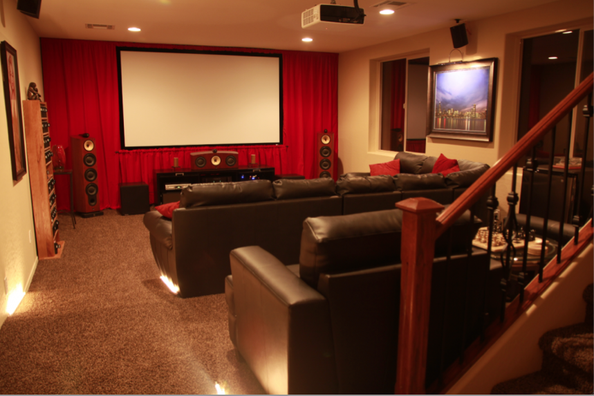 home theater media room 120 fixed projection screen 1080 hd rh pinterest com Media Room Seating Basement Media Room Design