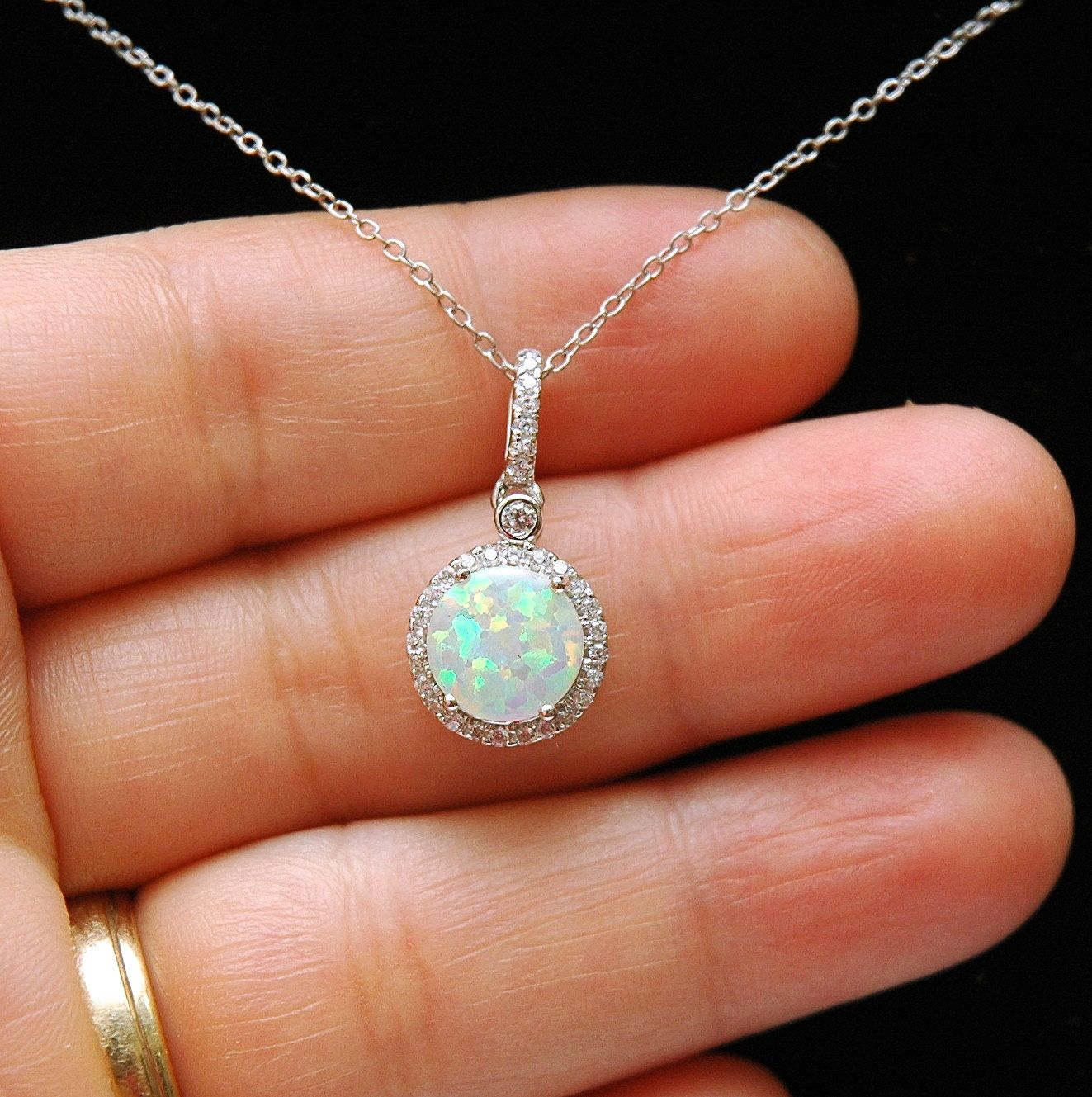 opal necklace october birthstone necklace white opal