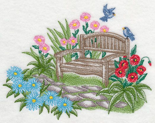 Garden Bench Serenity (Toile) design (L4321) from www.Emblibrary.com