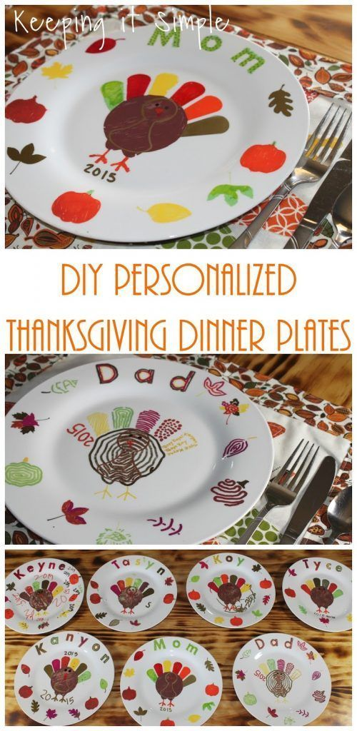 DIY Personalized Thanksgiving Dinner Plates