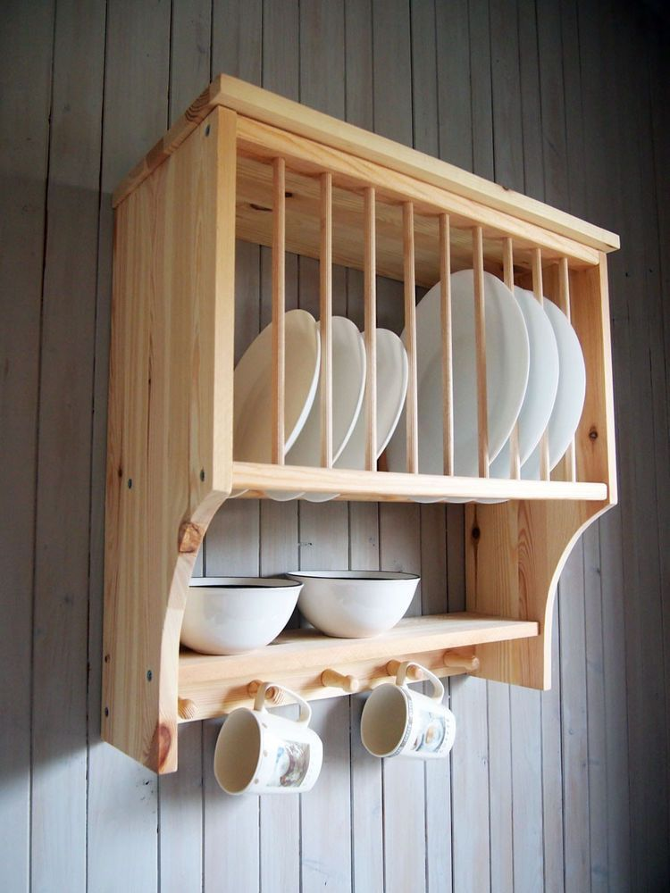 Details about Kitchen Plate Rack Shelf, Solid Pine Wood, Wall Mounted Wooden #plateracks