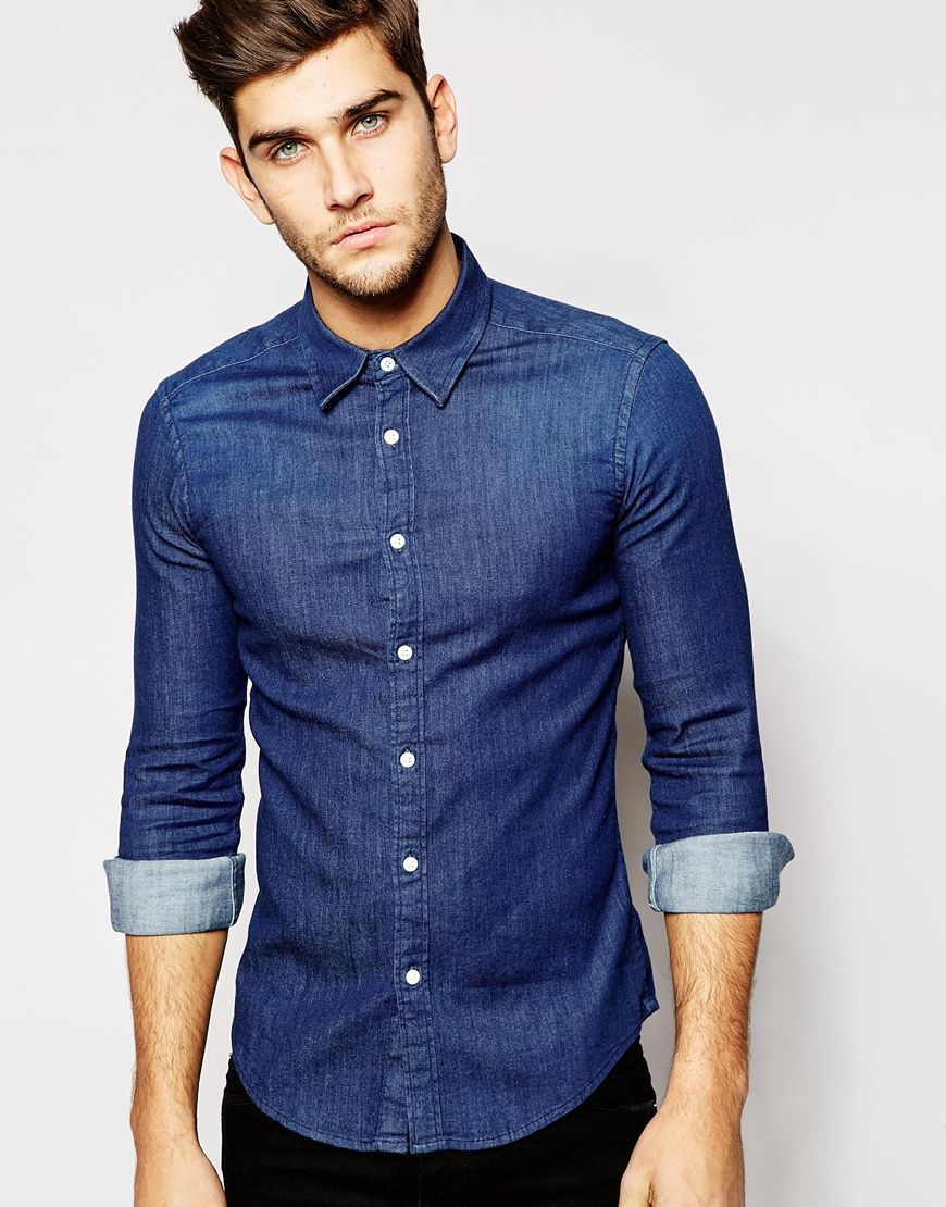 8221d0ddc5 ASOS Skinny Denim Shirt With Long Sleeves In Rinse Wash