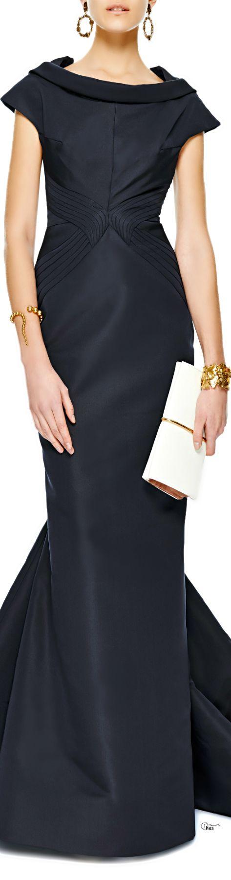 Zac Posen ● Silk-Faille Drape-Neck Gown. V