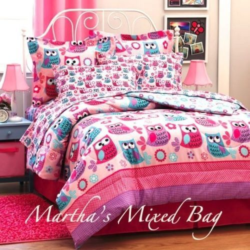 Details About Hoot Owls Girls Pink Teal Nature Flowers Twin Full