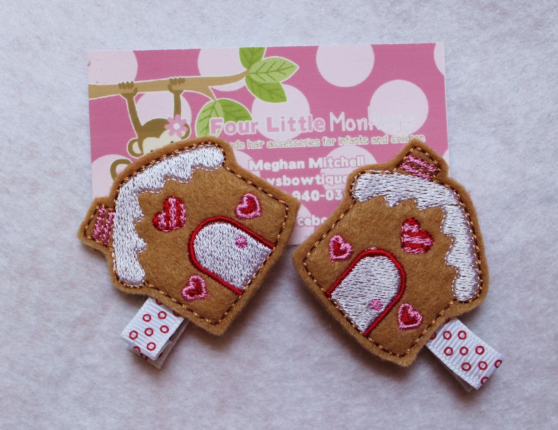 Felt Gingerbread House Hair Clip (via Etsy)