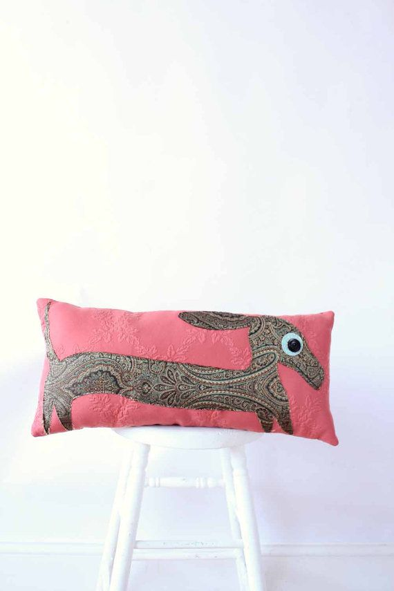 wiener dog applique pillow / dachshund /  rose pink & paisley / fall decor home / contemporary pillows on Etsy, $80.00