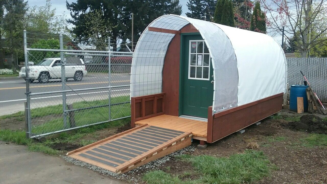 Wheelchair Accessible Micro Shelter For The Homeless Conestoga Hut Outdoor Buildings Viking Tent Homeless Shelter Ideas