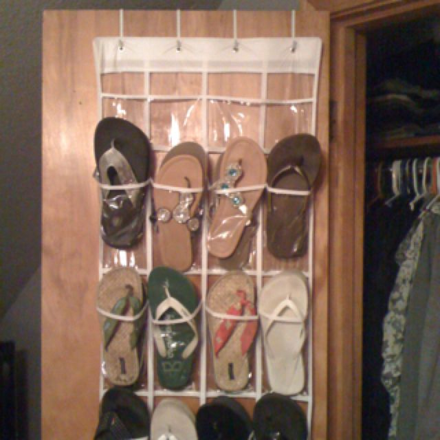 Easy Flip Flop Storage Idea. Over The Door Shoe Organizer. Inexpensive And  Holds 24