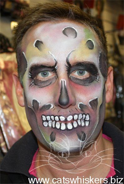 Cat Whiskers Face Paint : whiskers, paint, Halloween, Design, Zombie, Whiskers, Painting, Paint, Designs,, Design,