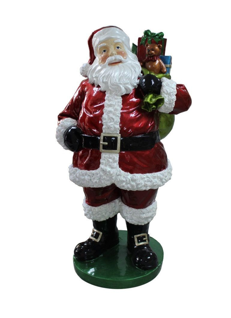 63 commercial grade standing santa claus with presents fiberglass christmas decoration - Fiberglass Christmas Decorations
