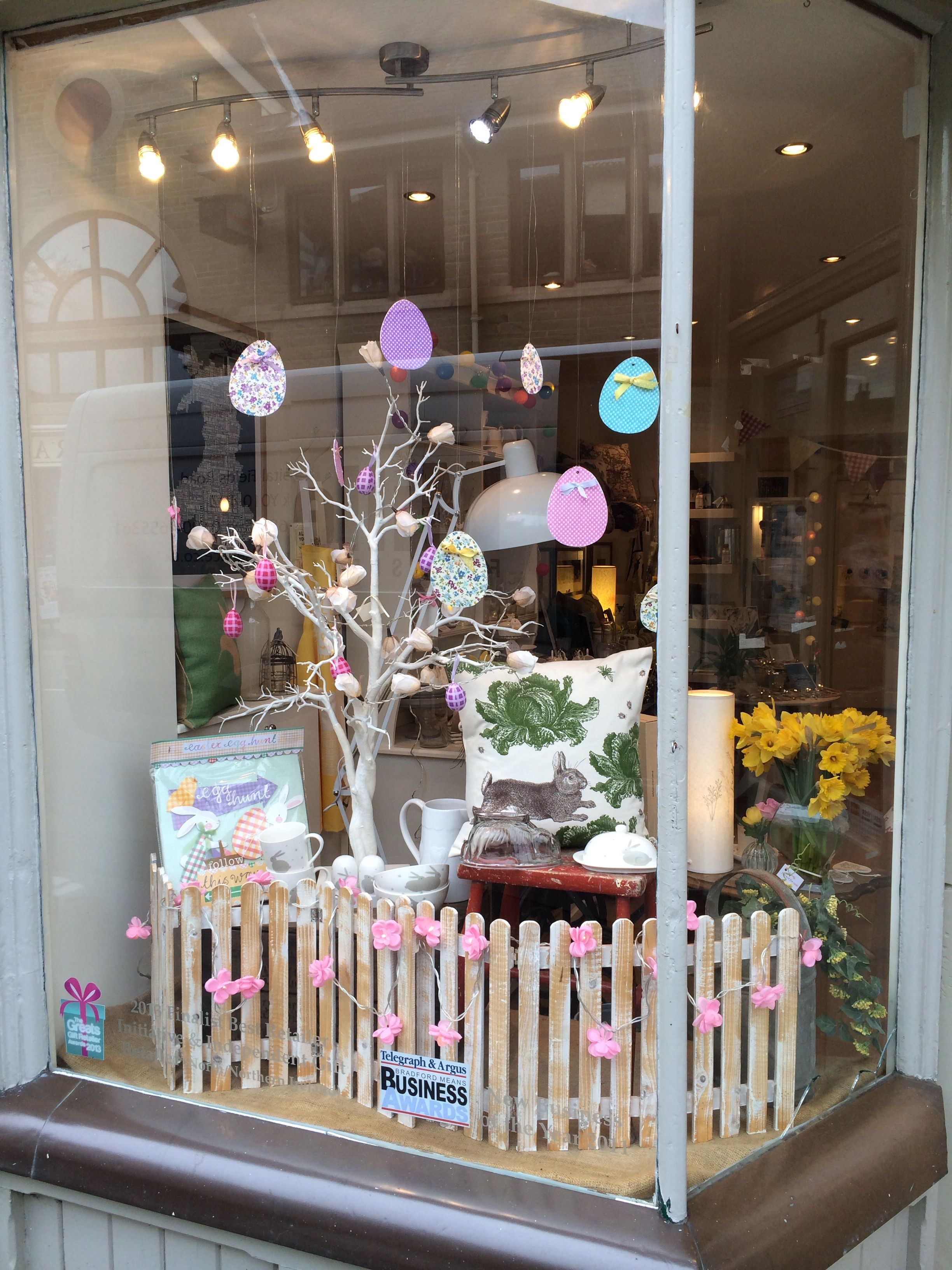 Nora S Shop Window Easter Ilkley Yorkshire Uk Boutique Window Displays Spring Window Display Easter Window Display