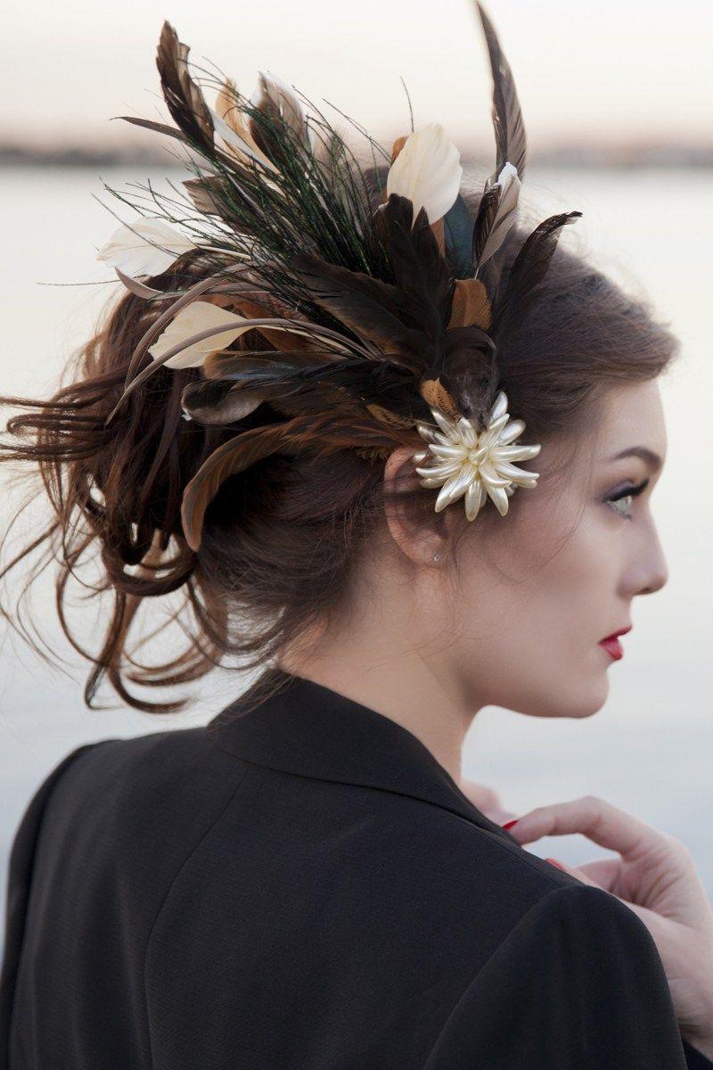 Feathered Head custom wedding headpieces as seen on @offbeatbride
