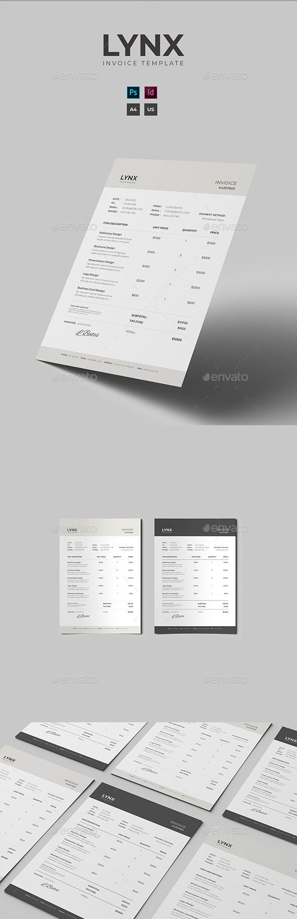 Pin By Best Graphic Design On Proposal Invoice Templates