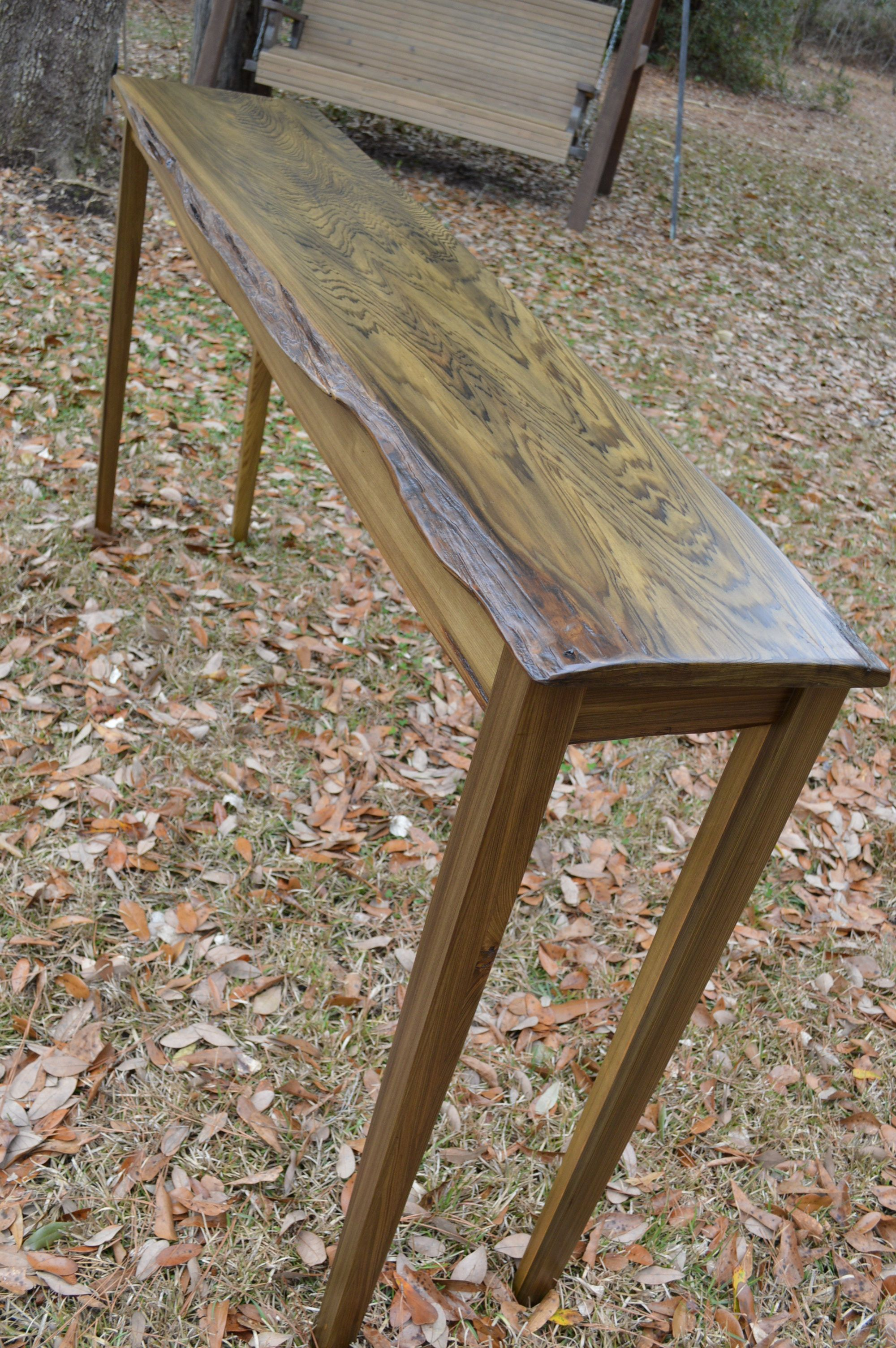 Reclaimed Sinker Cypress Console Table Contact Don Hostetler 985 237 0694 For Information Mahogany Furniture Wood Furniture Old Wood