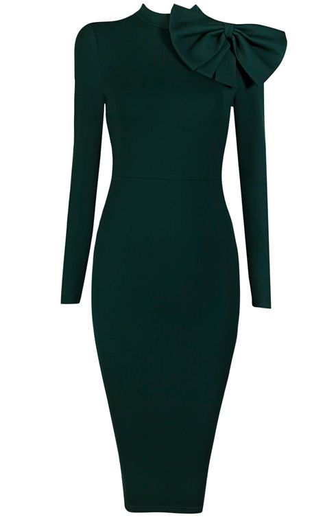 Dream it Wear it - Long Sleeve Bow Detail Midi Bandage Dress Green, 128,32€ (http://www.dreamitwearit.com/bandage-dresses/long-sleeve-bow-detail-midi-bandage-dress-green/)