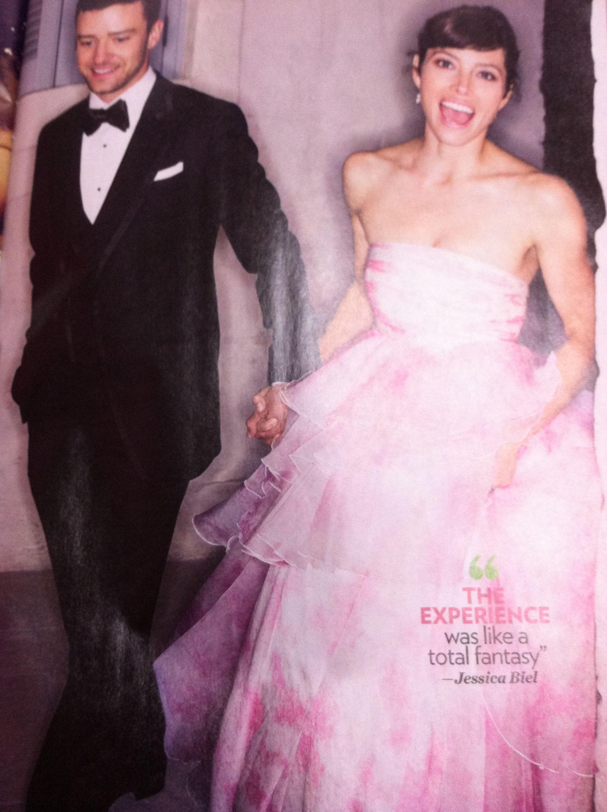 Image Detail For Jessica Biel Dons Pink Wedding Dress Cameo Blog Jessica Biel Wedding Dress Celebrity Bride Celebrity Wedding Dresses
