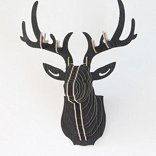 Wisdomtoy Diy 3d Wooden Colorful Animal Deer Head Assembly Puzzle Art Model Kit Toy Home Decoration Black Deer Head Wall Decor Wood Deer Head Deer Heads Wall